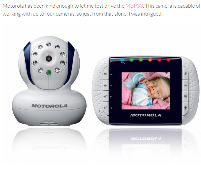Motorola MBP33 Wireless Video Baby Monitor with Infrared Night Vision and Zoom, 2.8 Inch เบบี้มอนิเตอร์กล้องวงจรปิด